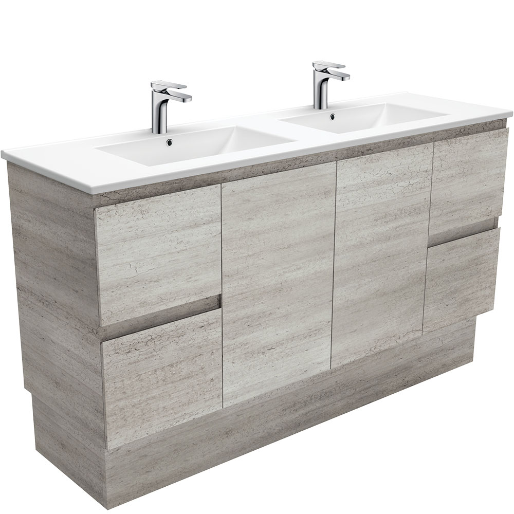 Dolce Edge Industrial 1500 Double Bowl Vanity on Kickboard