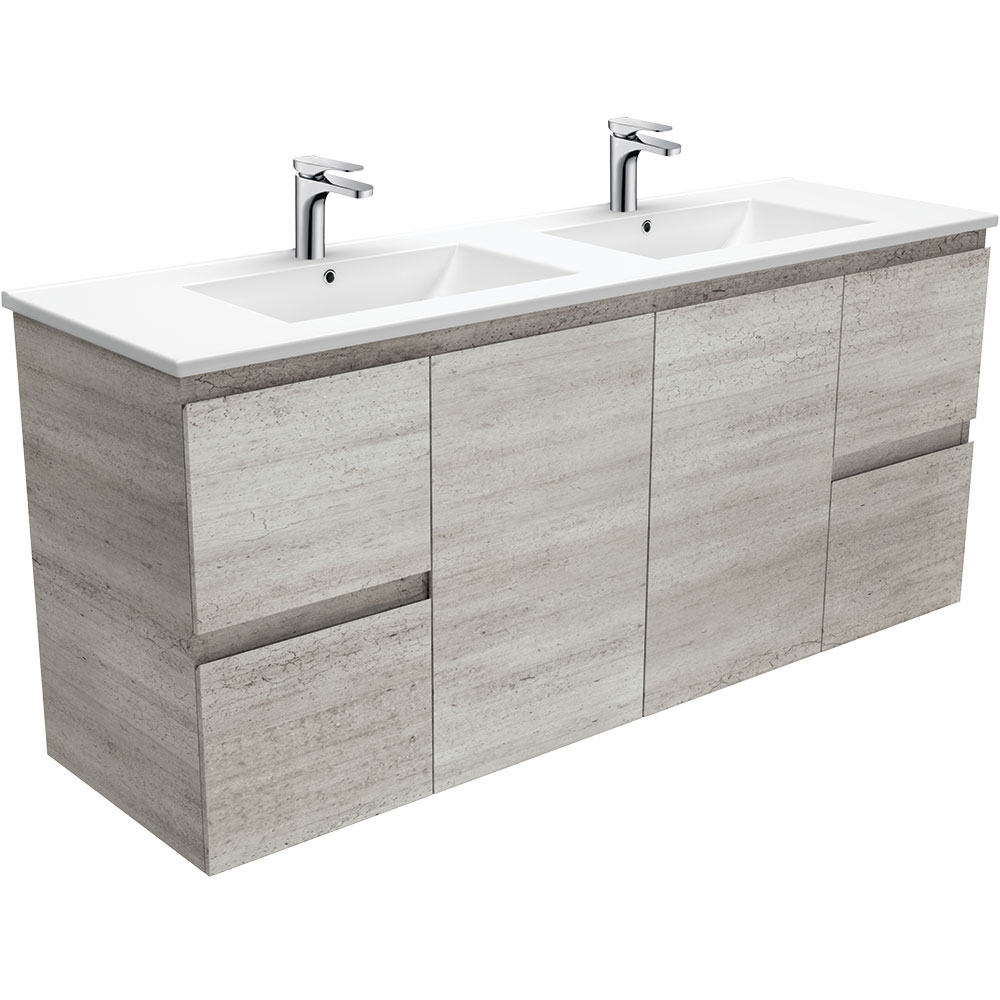 Dolce Edge Industrial 1500 Double Bowl Wall-Hung Vanity