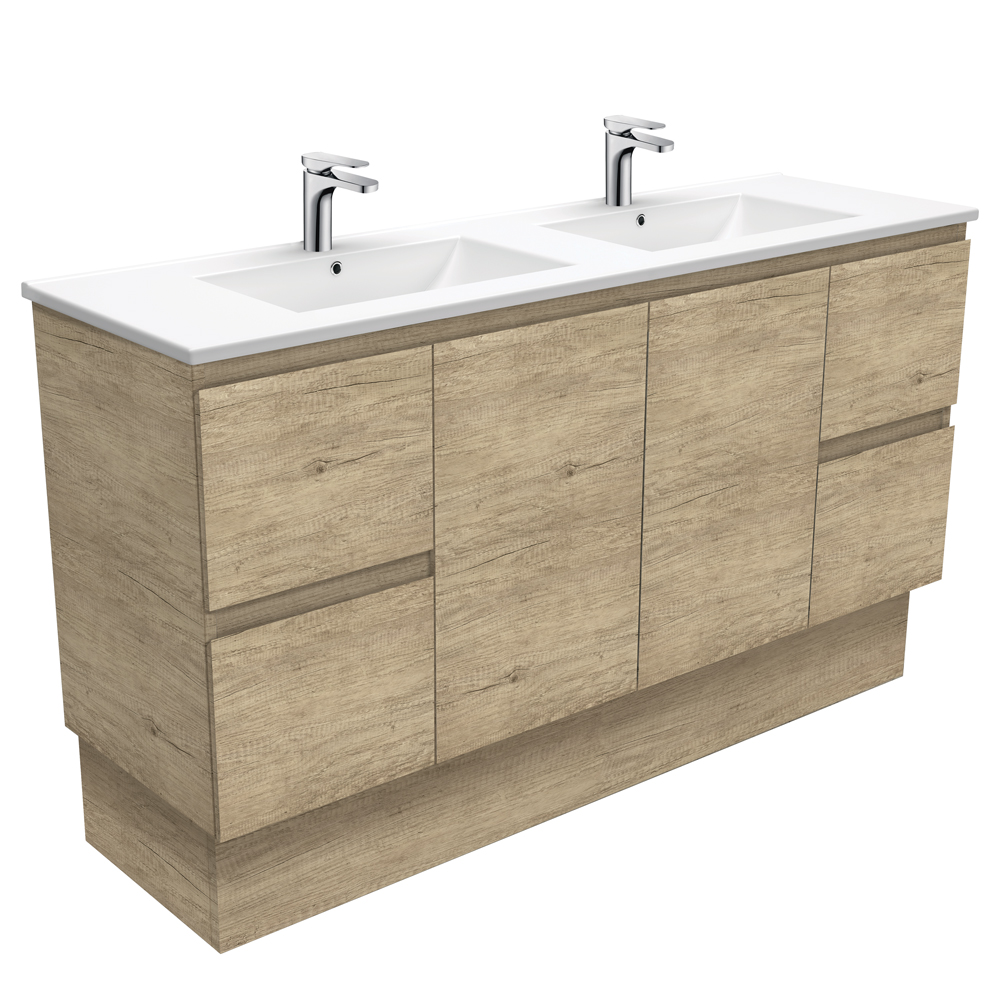 Dolce Edge Scandi Oak 1500 Double Bowl Vanity on Kickboard