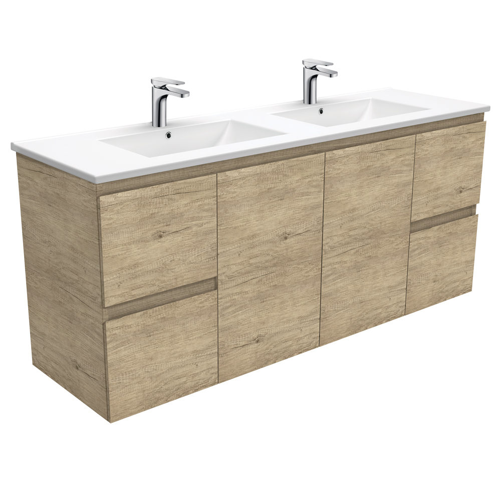 Dolce Edge Scandi Oak 1500 Double Bowl Wall-Hung Vanity