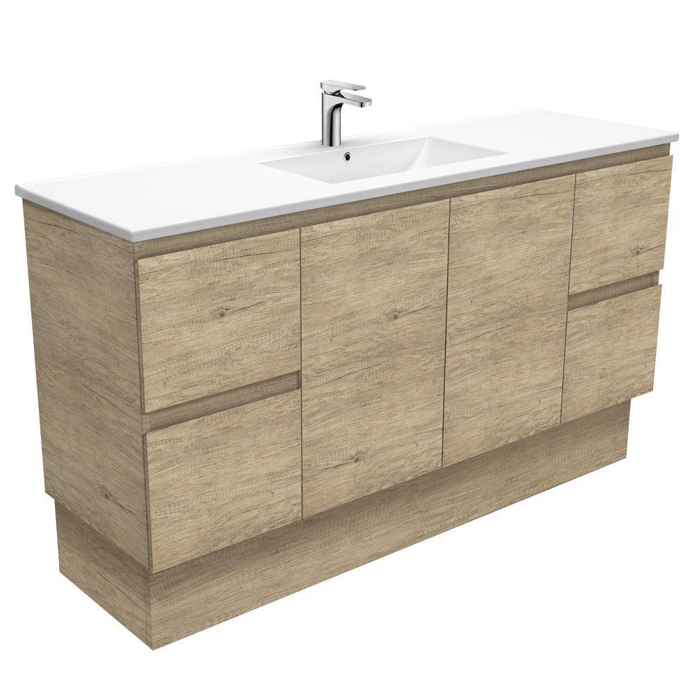 Dolce Edge Scandi Oak 1500 Single Bowl Vanity on Kickboard