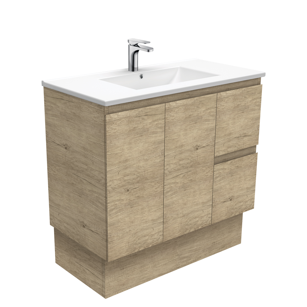 Dolce Edge Scandi Oak 900 Vanity on Kickboard