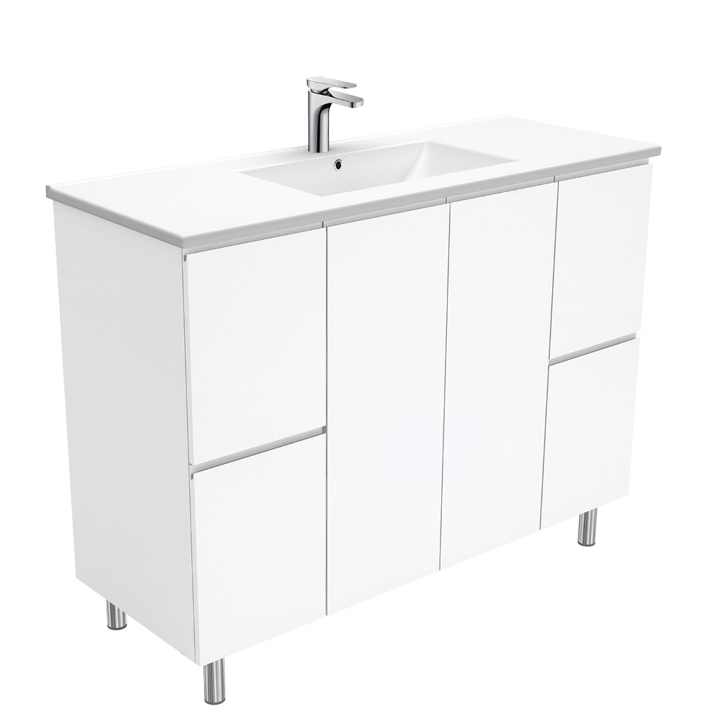 Dolce Fingerpull Gloss White 1200 Vanity on Legs