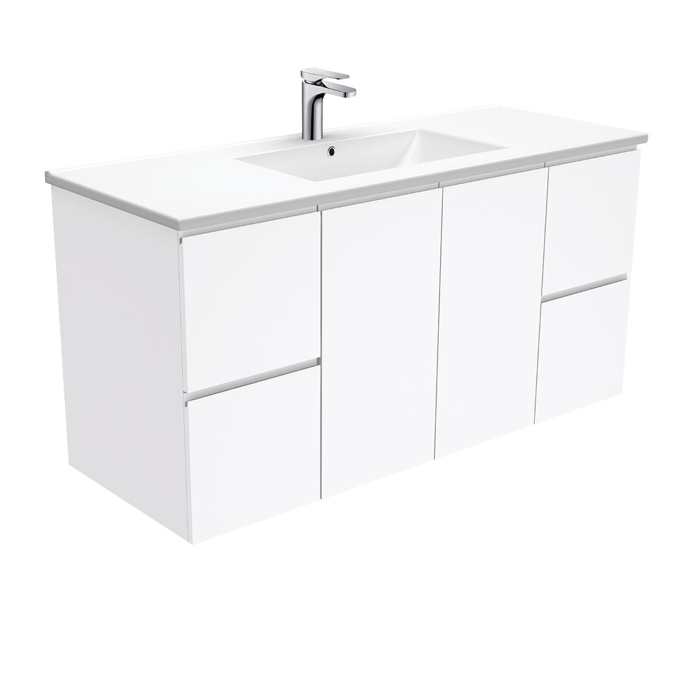 Dolce Fingerpull Gloss White 1200 Wall-Hung Vanity