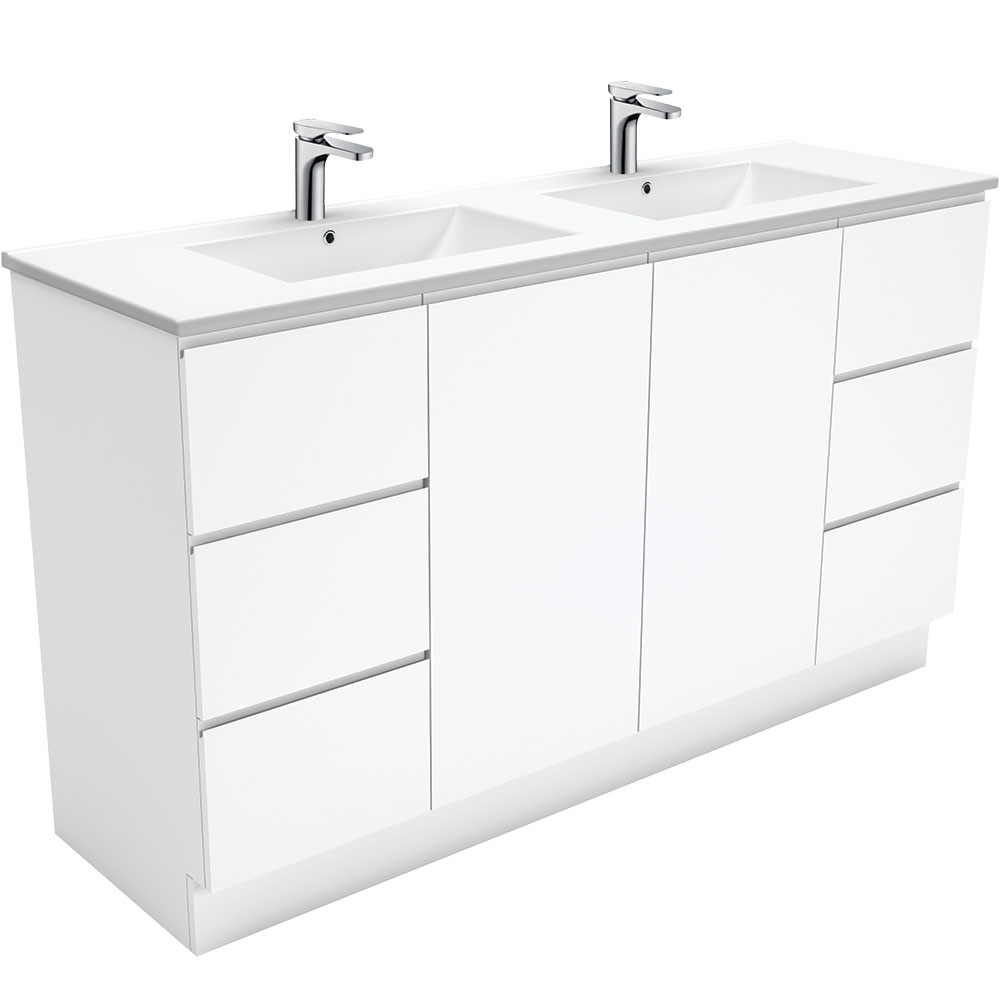 Dolce Fingerpull Gloss White 1500 Double Bowl Vanity on Kickboard