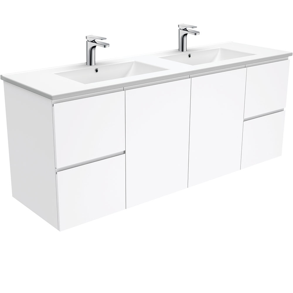 Dolce Fingerpull Gloss White 1500 Double Bowl Wall-Hung Vanity