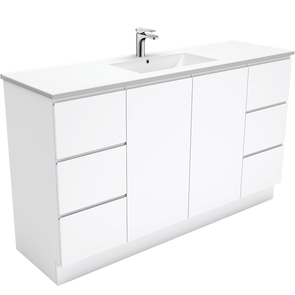 Dolce Fingerpull Gloss White 1500 Single Bowl Vanity on Kickboard