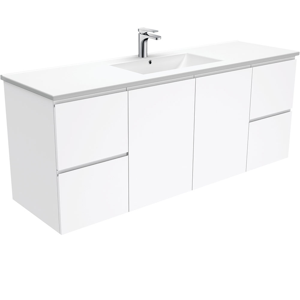Dolce Fingerpull Gloss White 1500 Single Bowl Wall-Hung Vanity