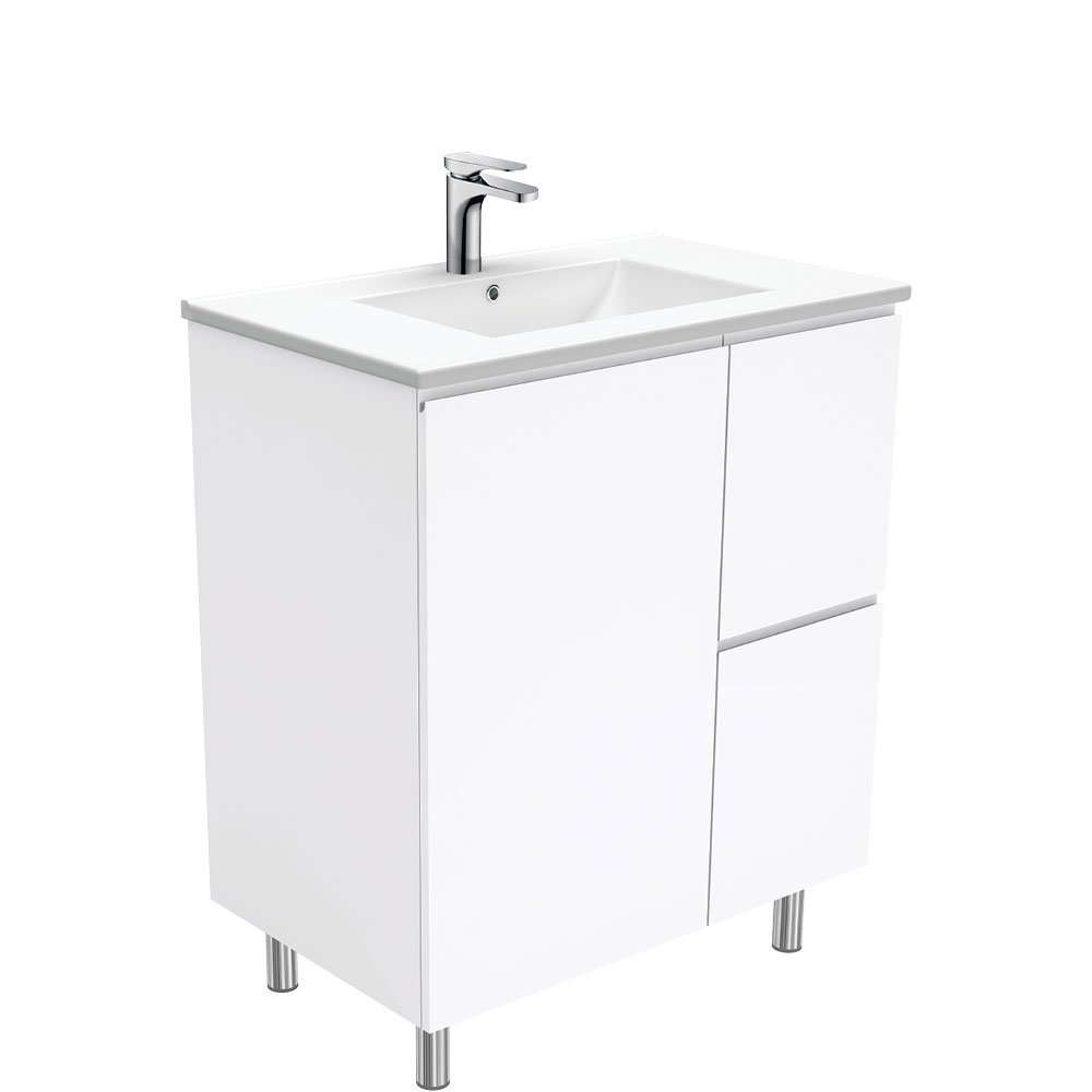 Dolce Fingerpull Gloss White 750 Vanity on Legs