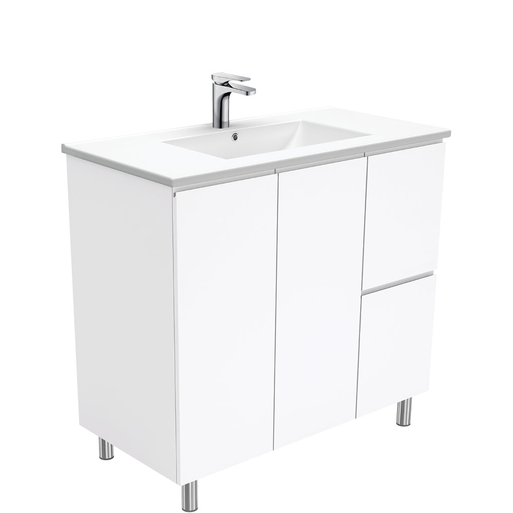 Dolce Fingerpull Gloss White 900 Vanity on Legs