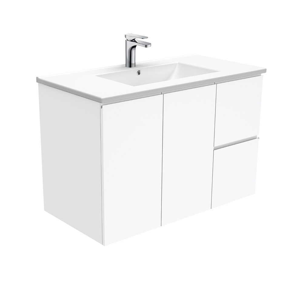 Dolce Fingerpull Gloss White 900 Wall-Hung Vanity