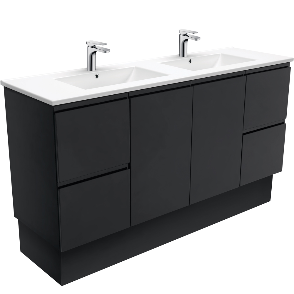 Dolce Fingerpull Matte Black 1500 Double Bowl Vanity on Kickboard