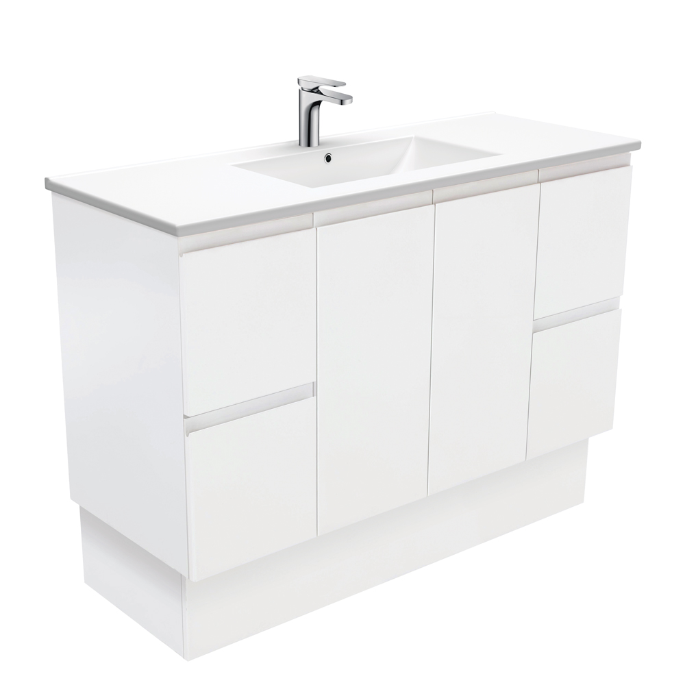 Dolce Fingerpull Matte White 1200 Vanity on Kickboard
