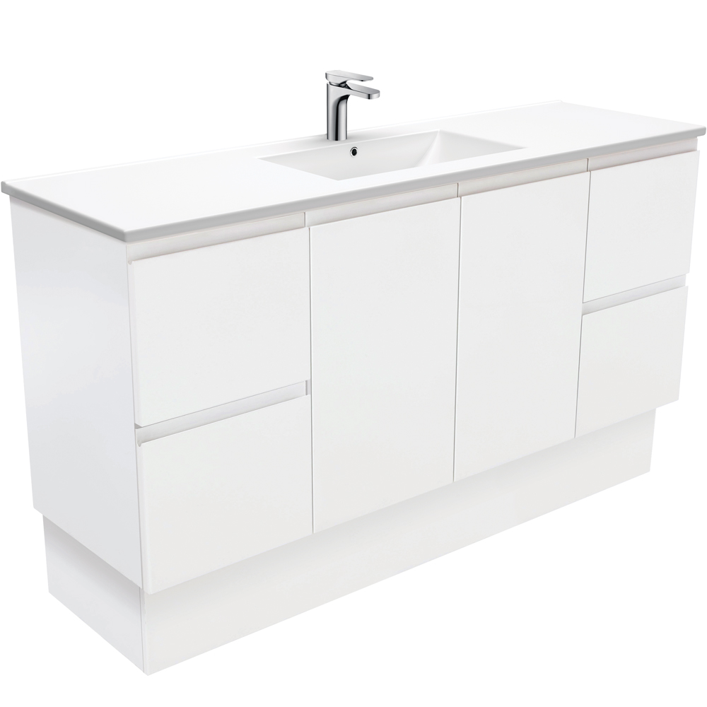 Dolce Fingerpull Matte White 1500 Single Bowl Vanity on Kickboard