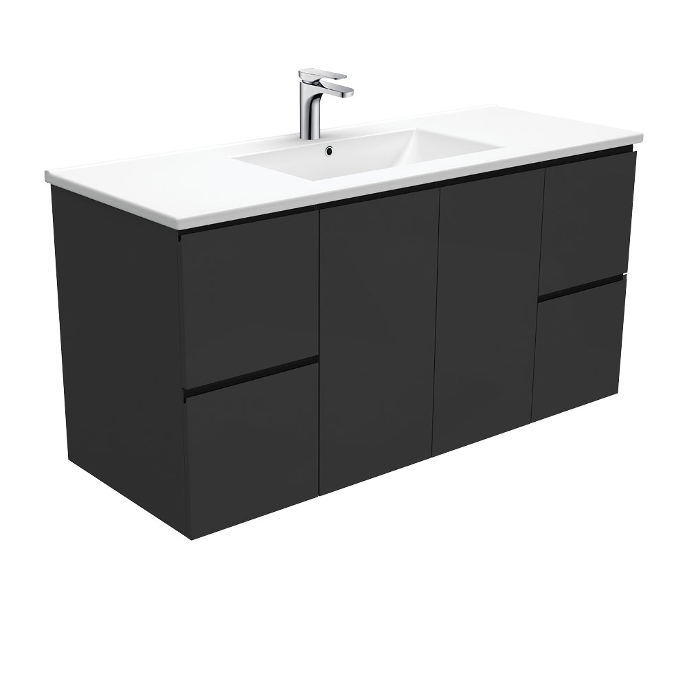 Dolce Fingerpull Satin Black 1200 Wall-Hung Vanity