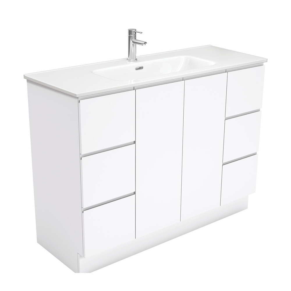 Joli Fingerpull Gloss White 1200 Vanity on Kickboard