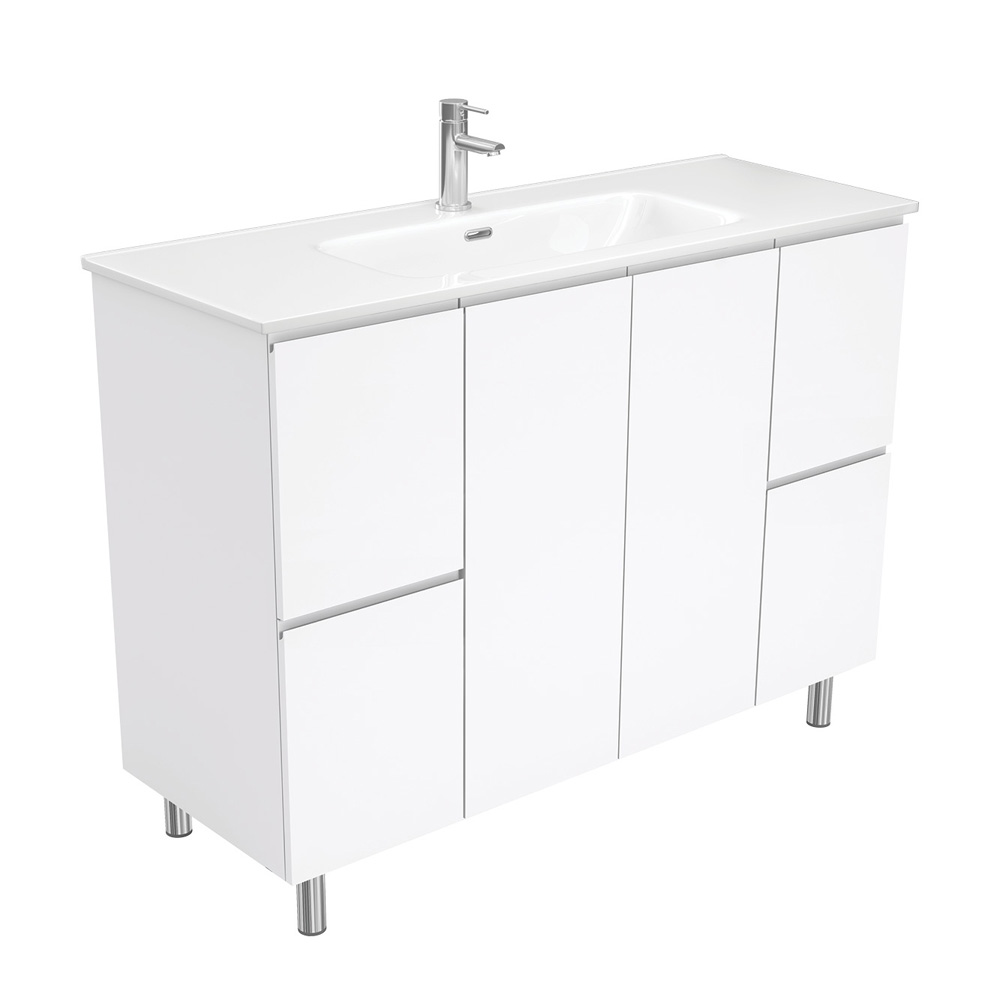 Joli Fingerpull Gloss White 1200 Vanity on Legs