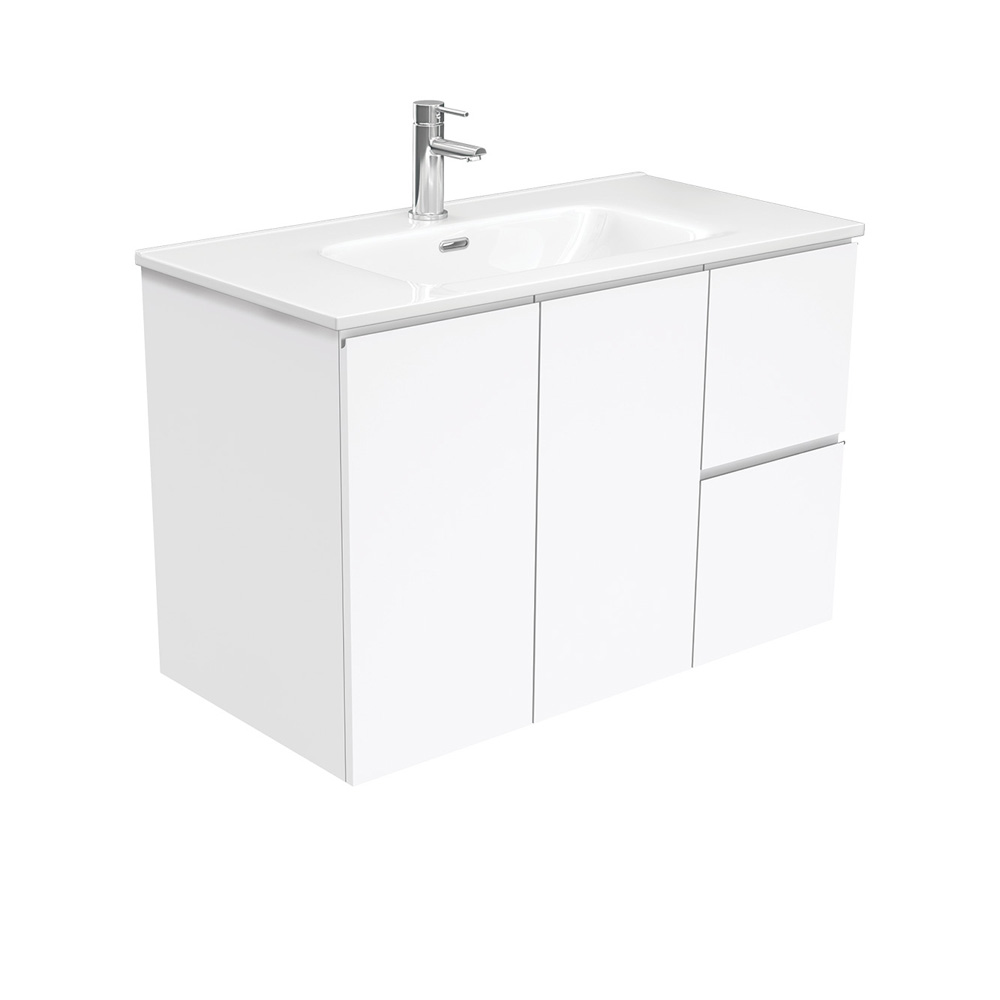 Joli Fingerpull Gloss White 900 Wall-Hung Vanity