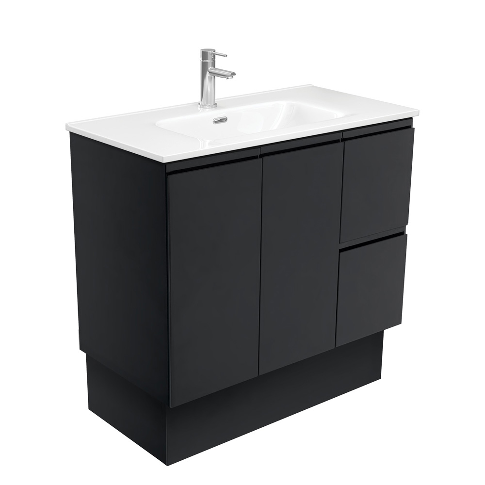 Joli Fingerpull Matte Black 1200 Vanity on Kickboard