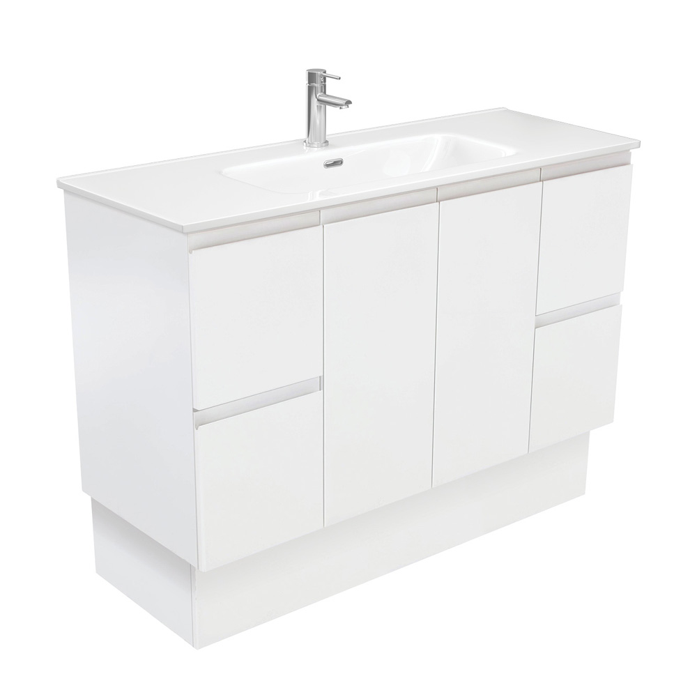 Joli Fingerpull Matte White 1200 Vanity on Kickboard