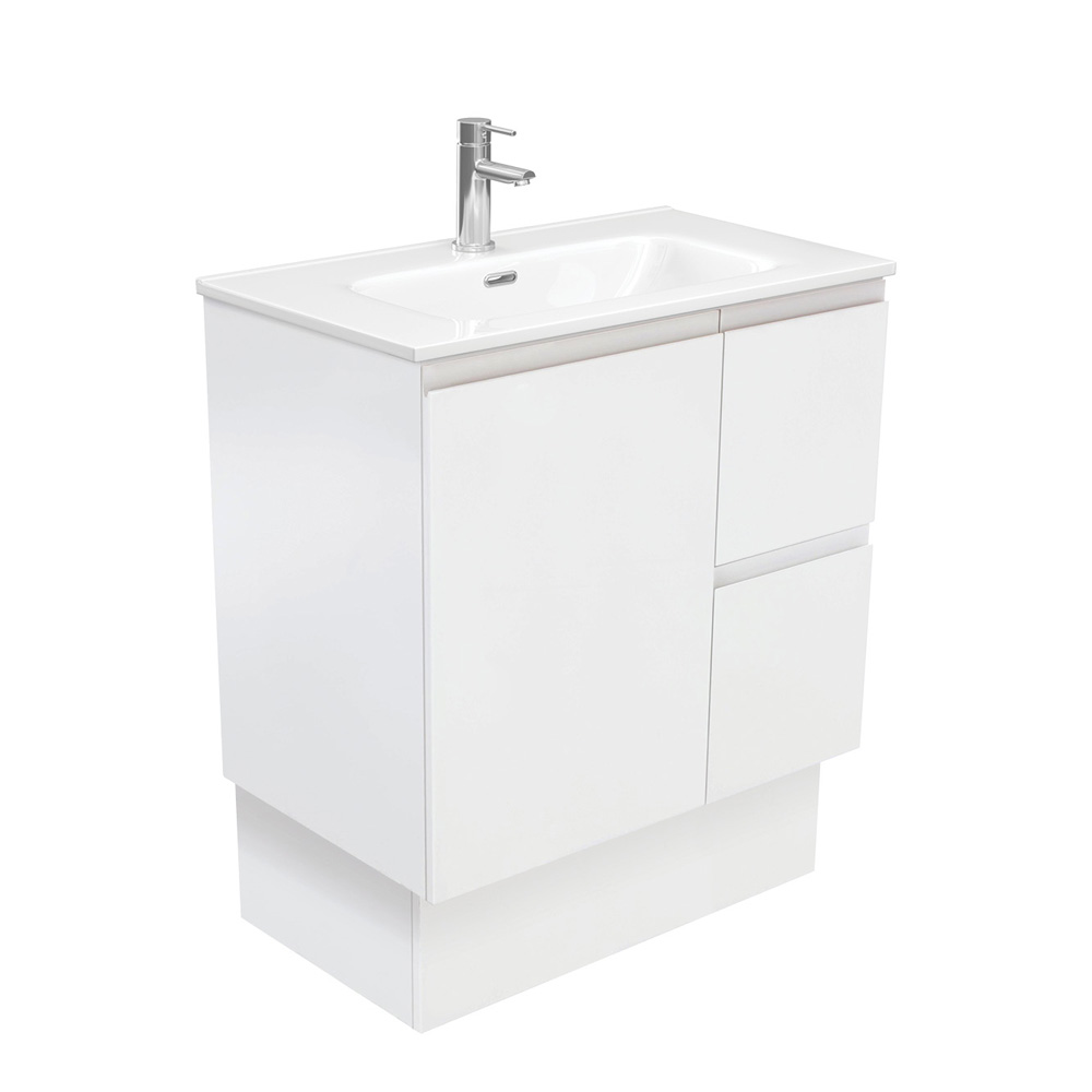 Joli Fingerpull Matte White 750 Vanity on Kickboard