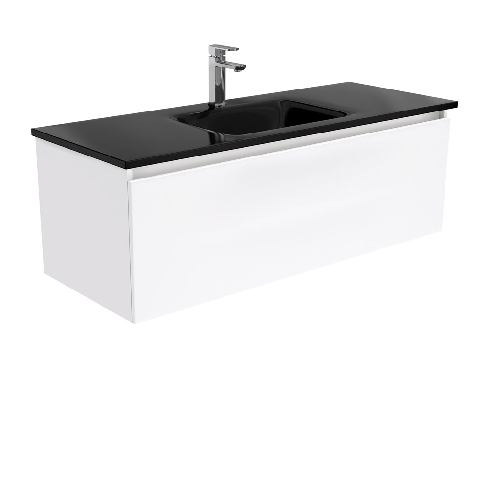 Mambo Black Glass Manu 1200 Wall Hung Vanity