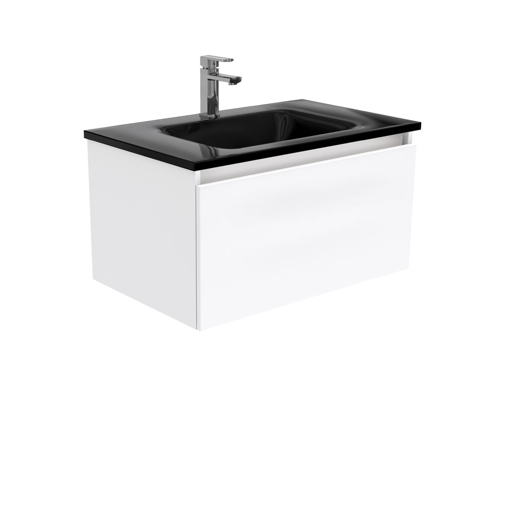 Mambo Black Glass Manu 750 Wall Hung Vanity