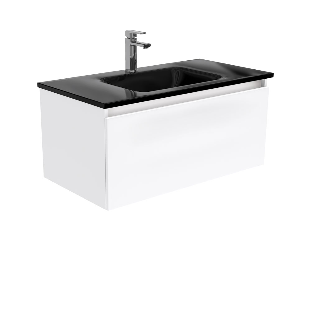 Mambo Black Glass Manu 900 Wall Hung Vanity