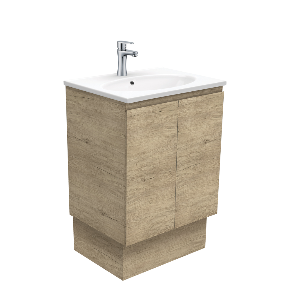 Rotondo Edge Scandi Oak 600 Vanity on Kickboard