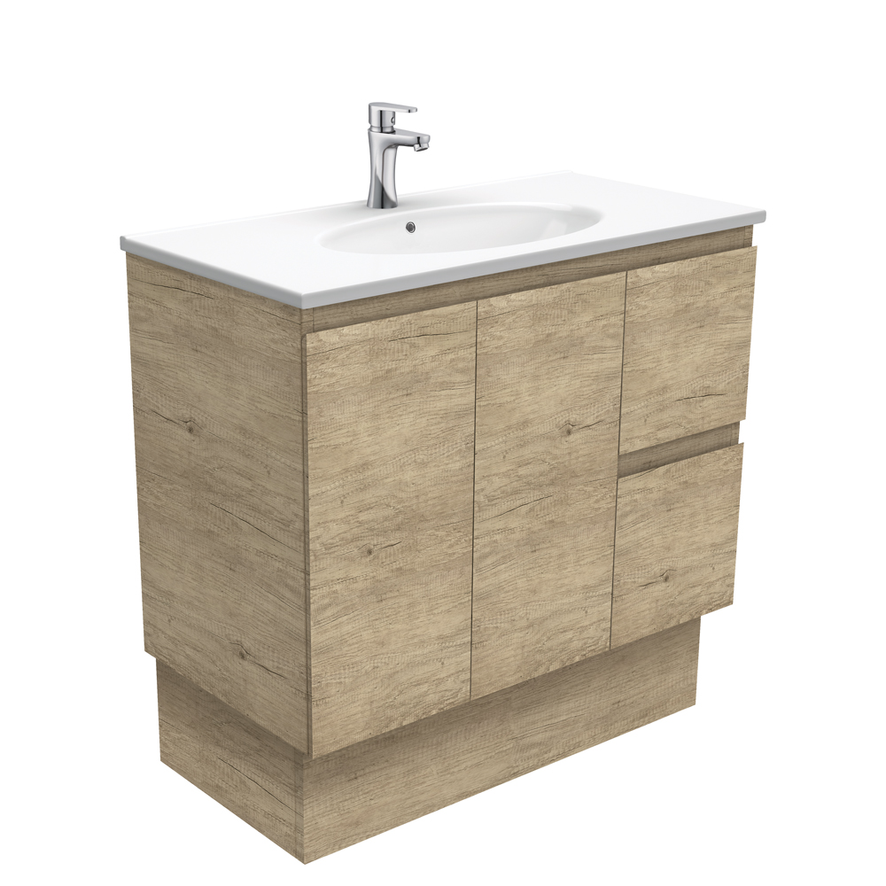 Rotondo Edge Scandi Oak 900 Vanity on Kickboard