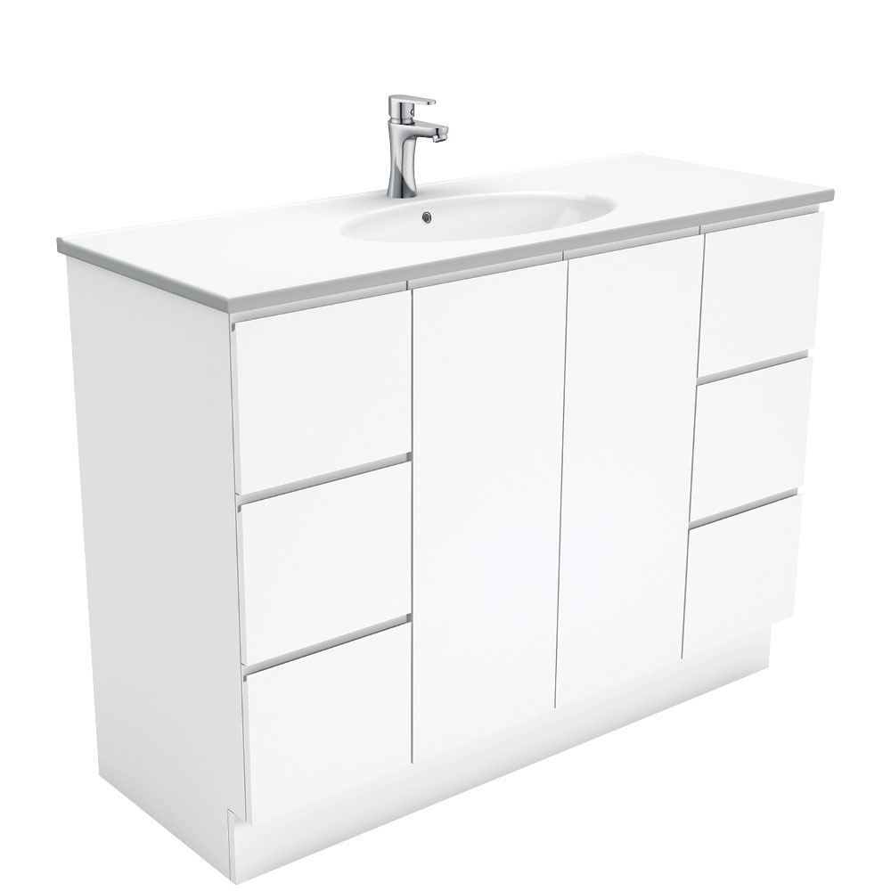 Rotondo Fingerpull Gloss White 1200 Vanity on Kickboard