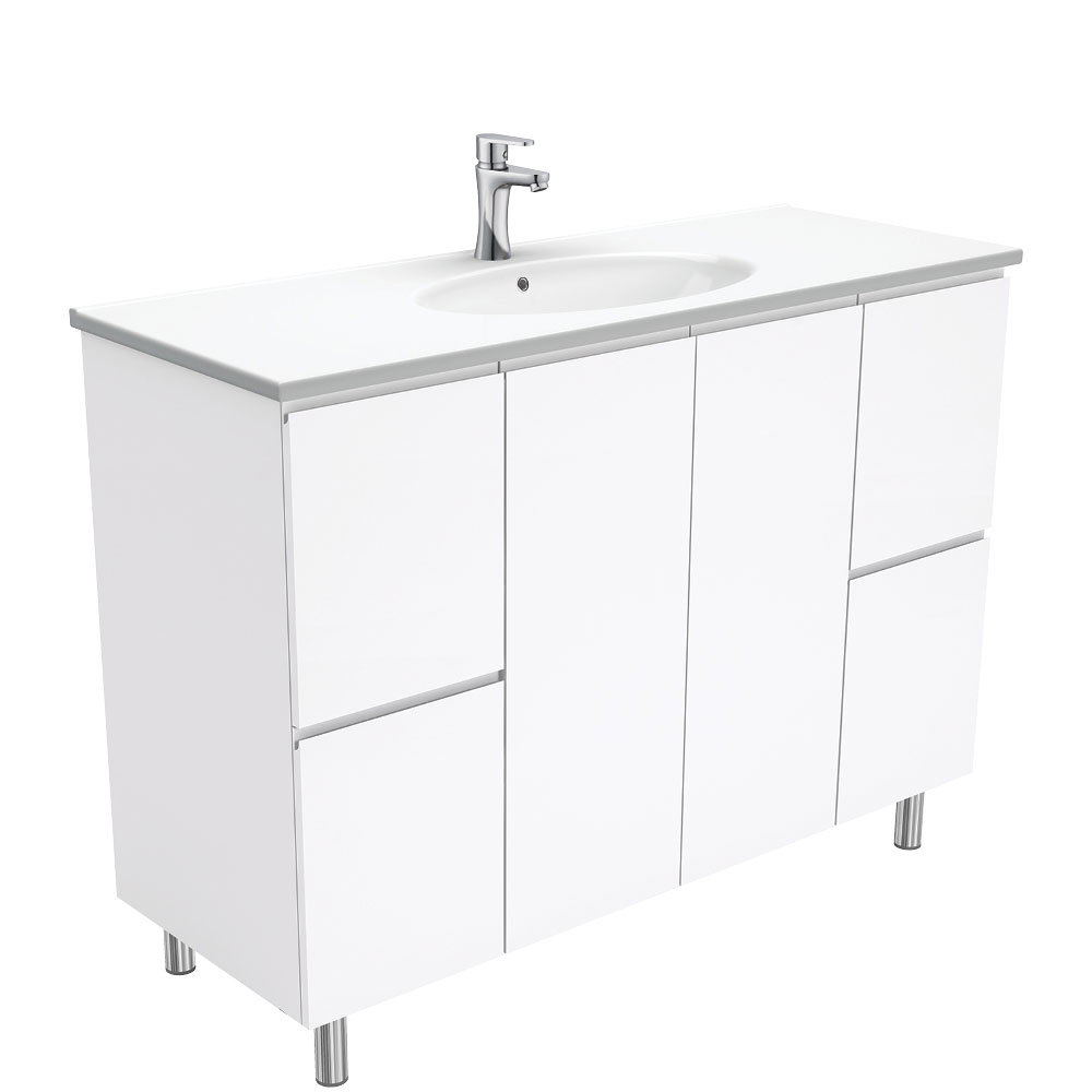 Rotondo Fingerpull Gloss White 1200 Vanity on Legs