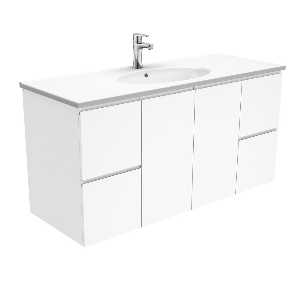 Rotondo Fingerpull Gloss White 1200 Wall-Hung Vanity