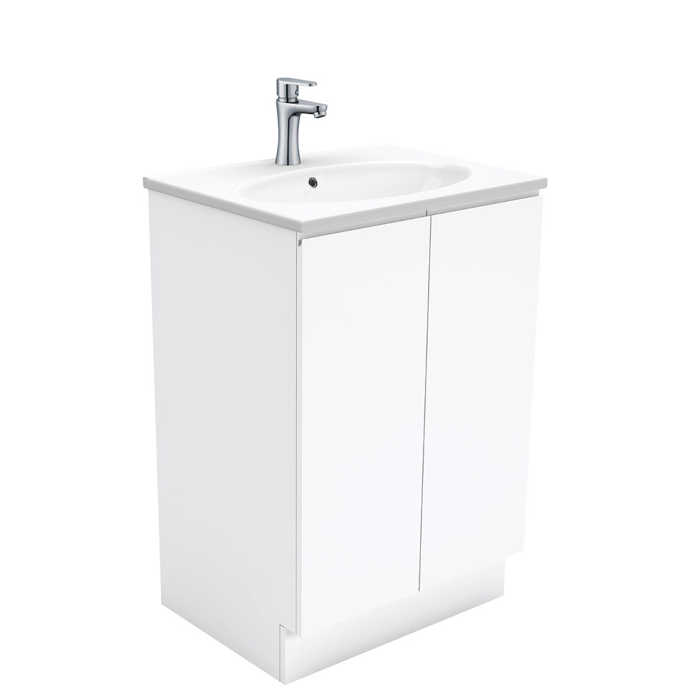 Rotondo Fingerpull Gloss White 600 Vanity on Kickboard