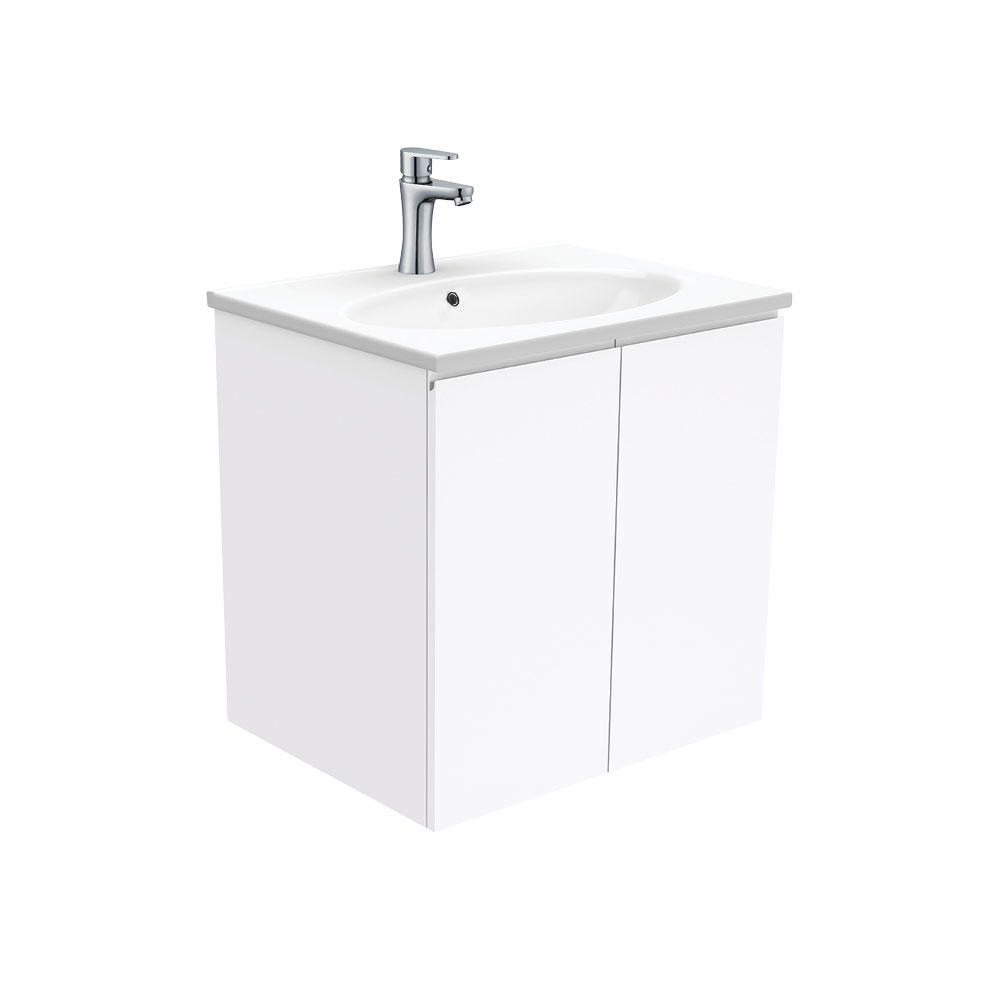Rotondo Fingerpull Gloss White 600 Wall-Hung Vanity