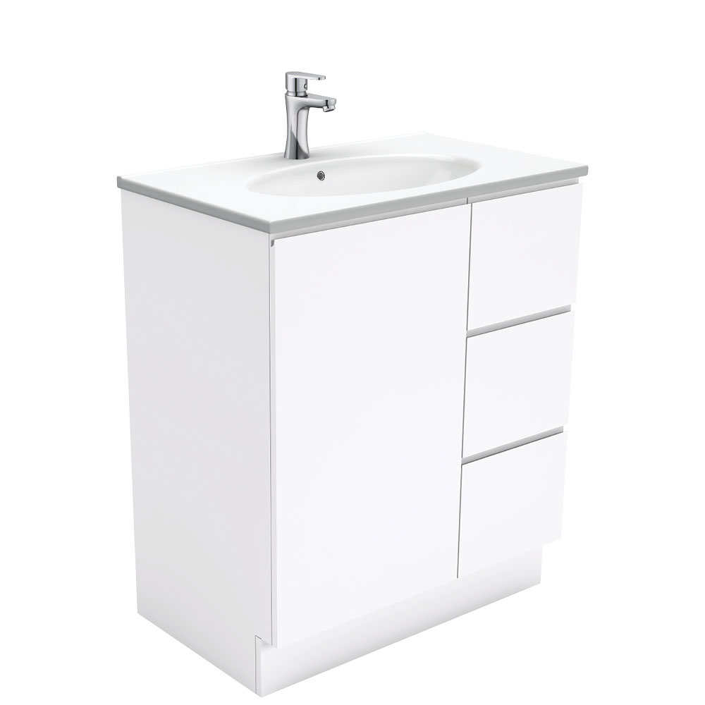 Rotondo Fingerpull Gloss White 750 Vanity on Kickboard