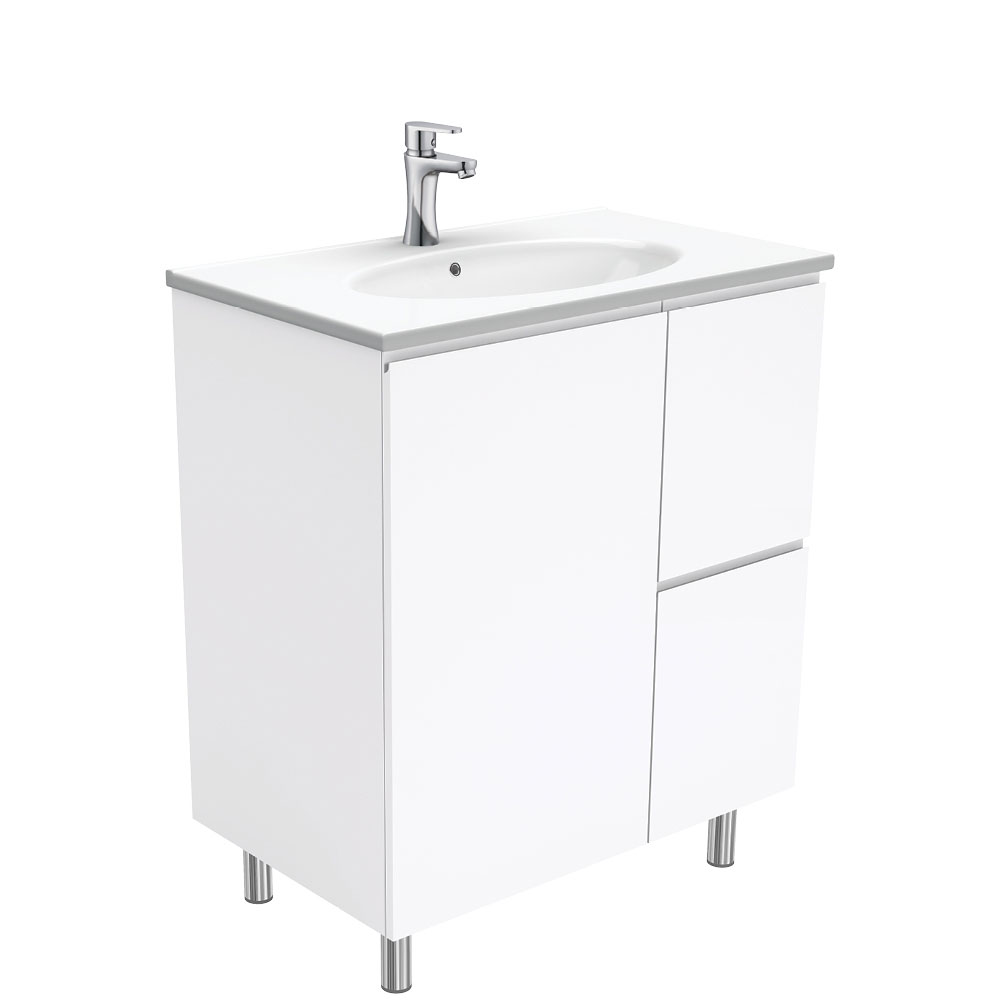 Rotondo Fingerpull Gloss White 750 Vanity on Legs