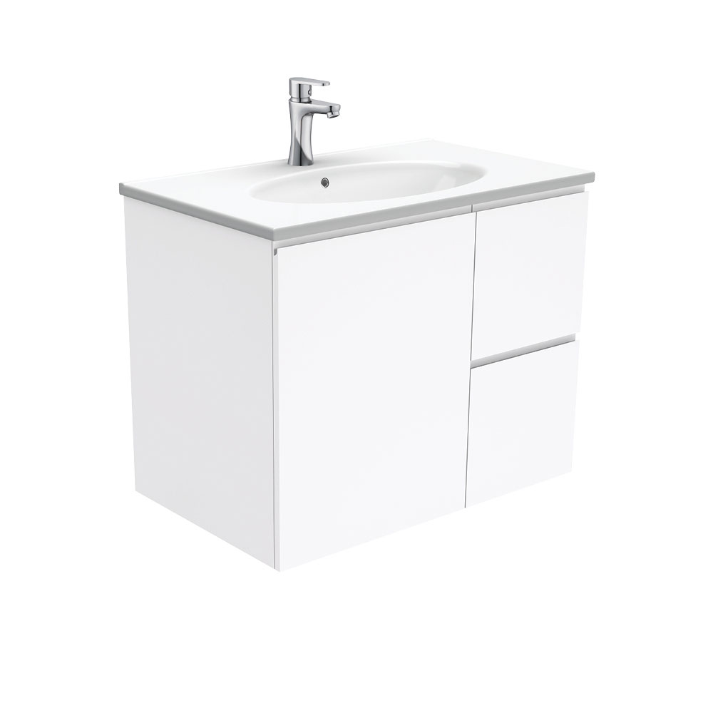 Rotondo Fingerpull Gloss White 750 Wall-Hung Vanity
