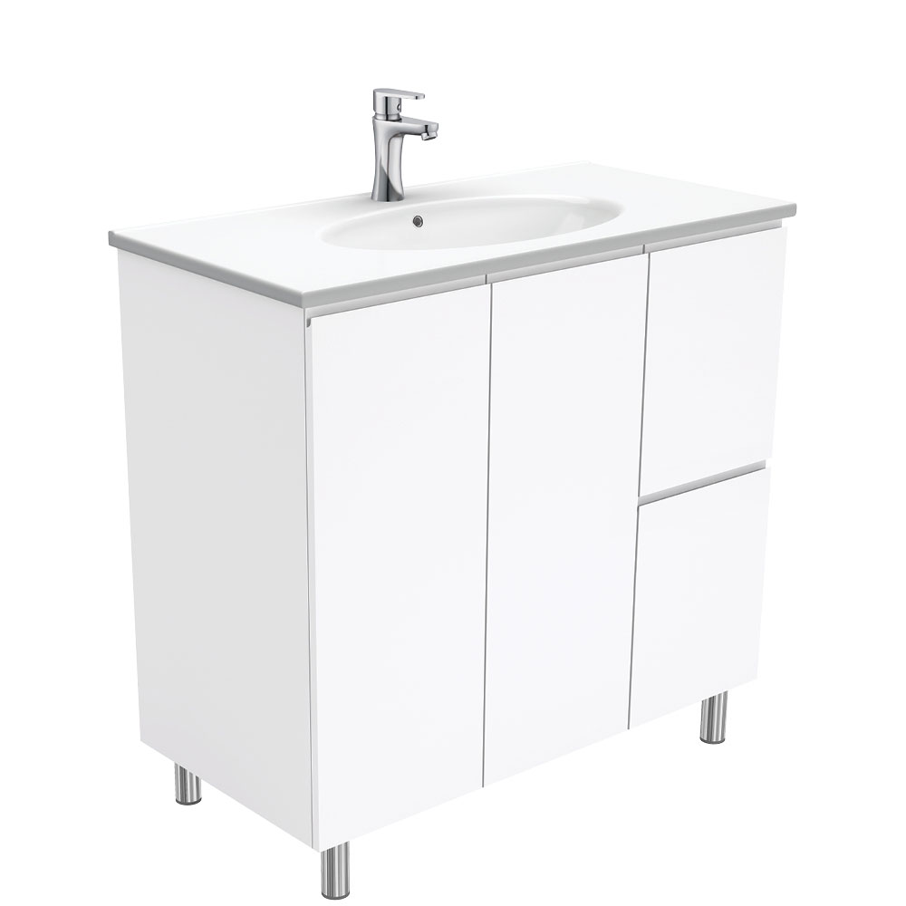 Rotondo Fingerpull Gloss White 900 Vanity on Legs