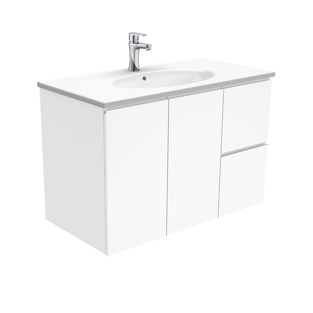 Rotondo Fingerpull Gloss White 900 Wall-Hung Vanity