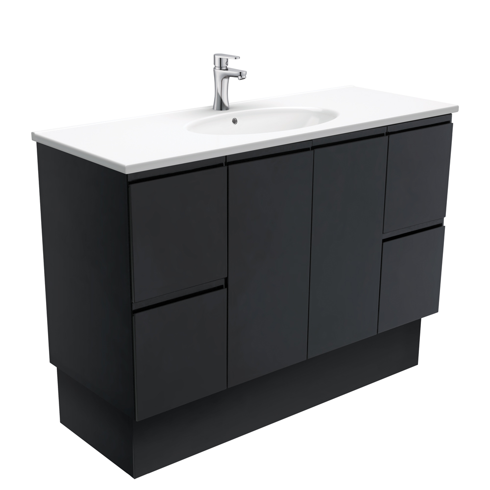 Rotondo Fingerpull Matte Black 1200 Vanity on Kickboard