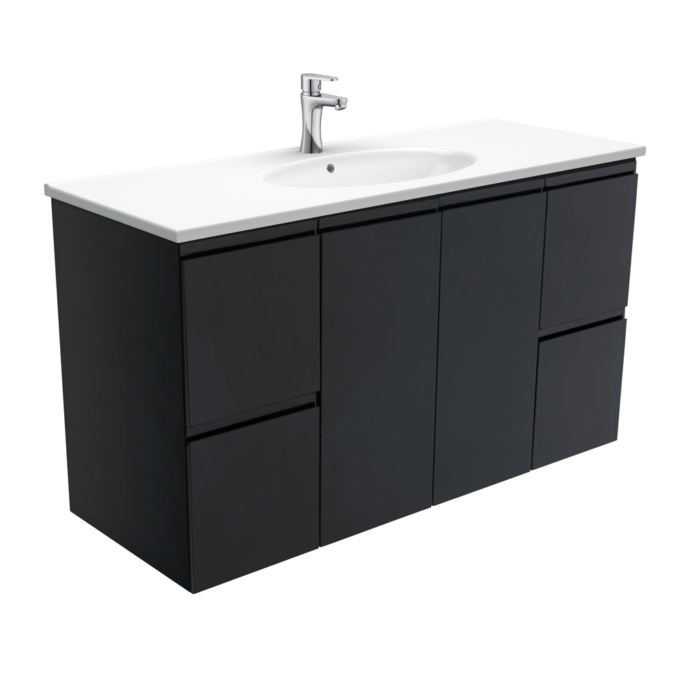 Rotondo Fingerpull Satin Black 1200 Wall-Hung Vanity