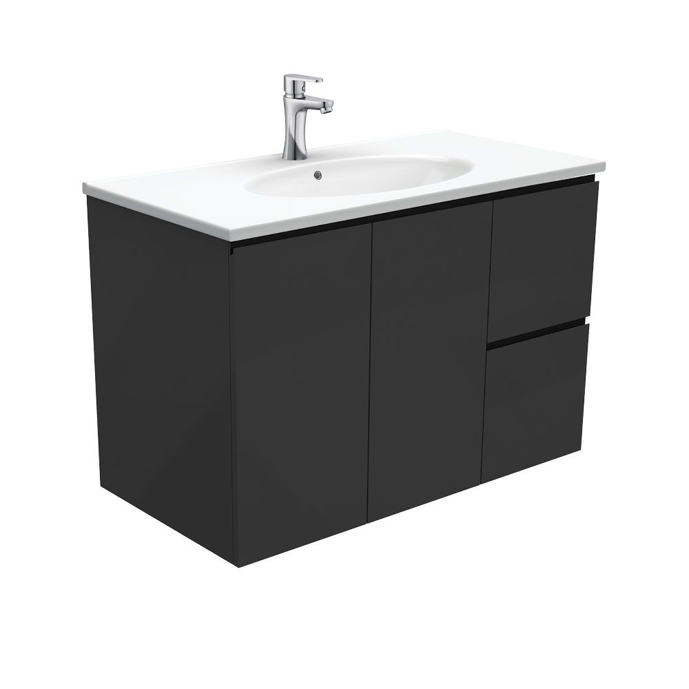Rotondo Fingerpull Satin Black 900 Wall-Hung Vanity