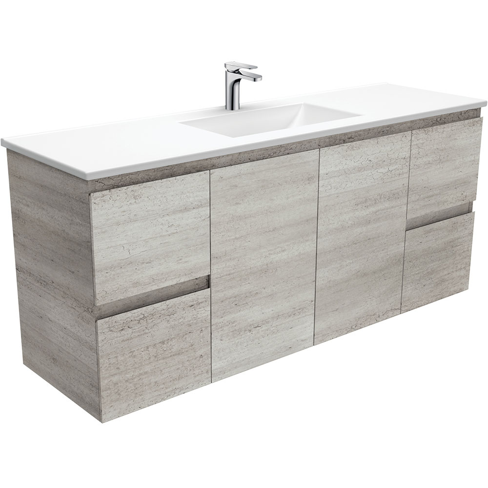 Vanessa Edge Industrial 1500 Single Bowl Wall-Hung Vanity