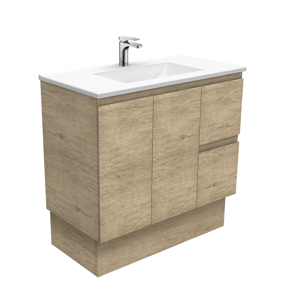 Vanessa Edge Scandi Oak 900 Vanity on Kickboard