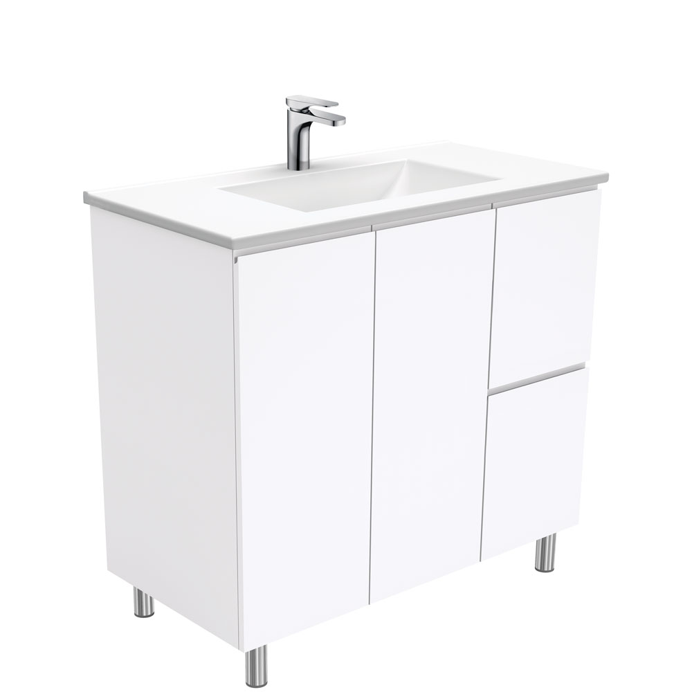 Vanessa Fingerpull Gloss White 900 Vanity on Legs