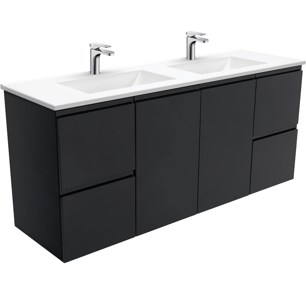Vanessa Fingerpull Matte Black 1500 Double Bowl Wall-Hung Vanity