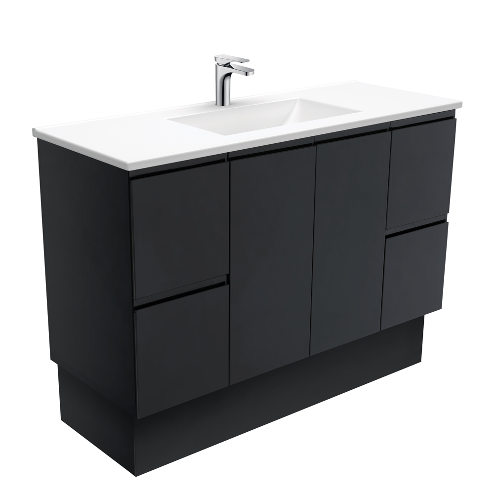 Vanessa Fingerpull Matte Black 1500 Single Bowl Vanity on Kickboard