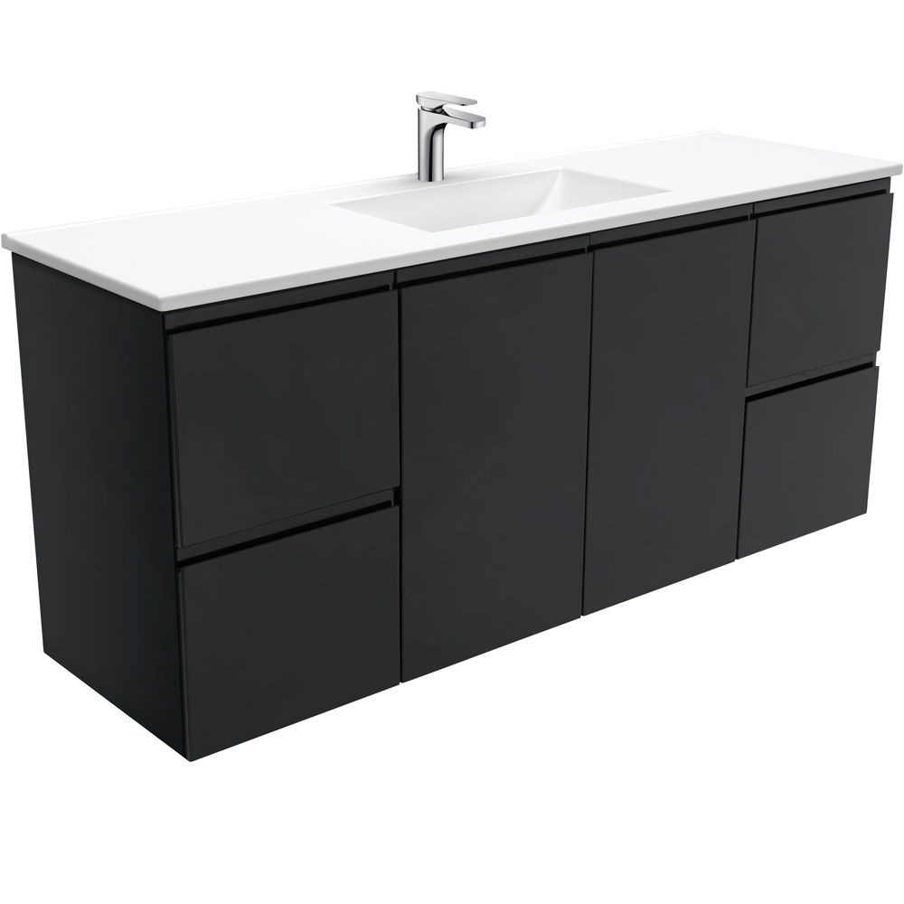 Vanessa Fingerpull Matte Black 1500 Single Bowl Wall-Hung Vanity