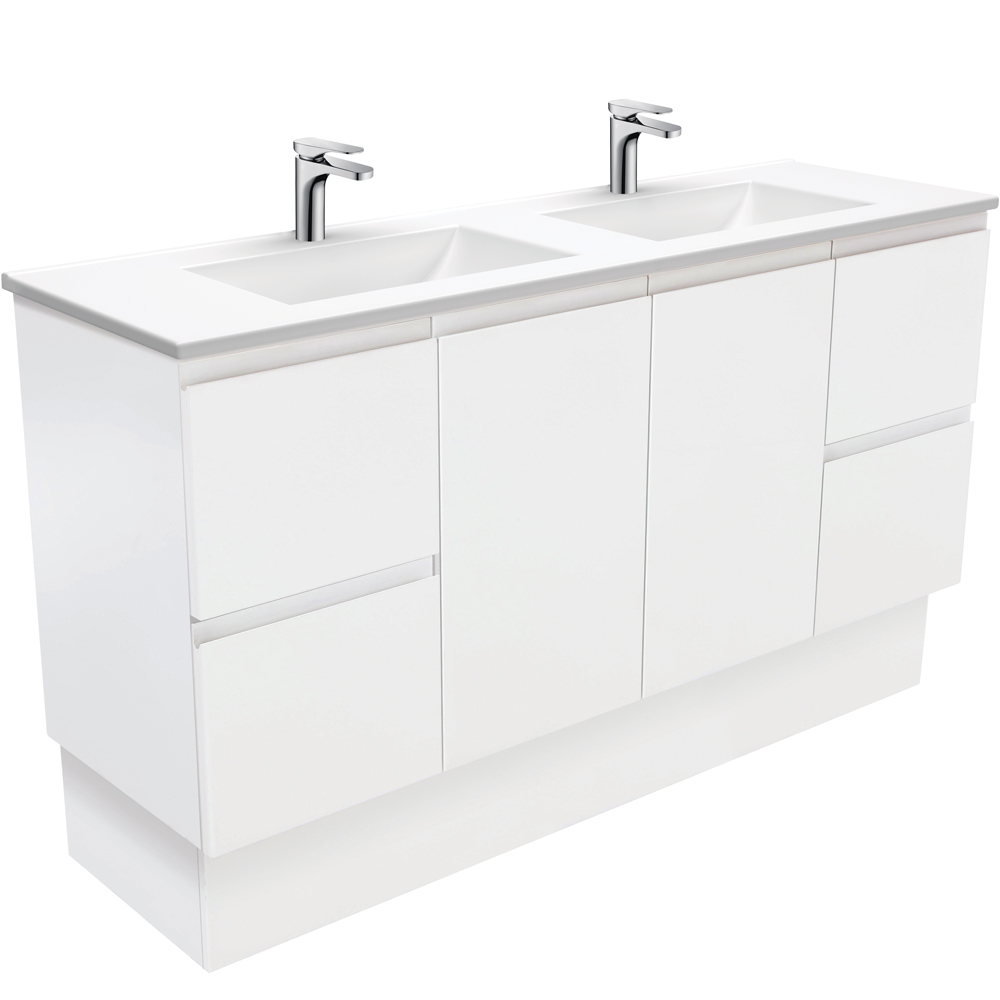 Vanessa Fingerpull Matte White 1500 Double Bowl Vanity on Kickboard